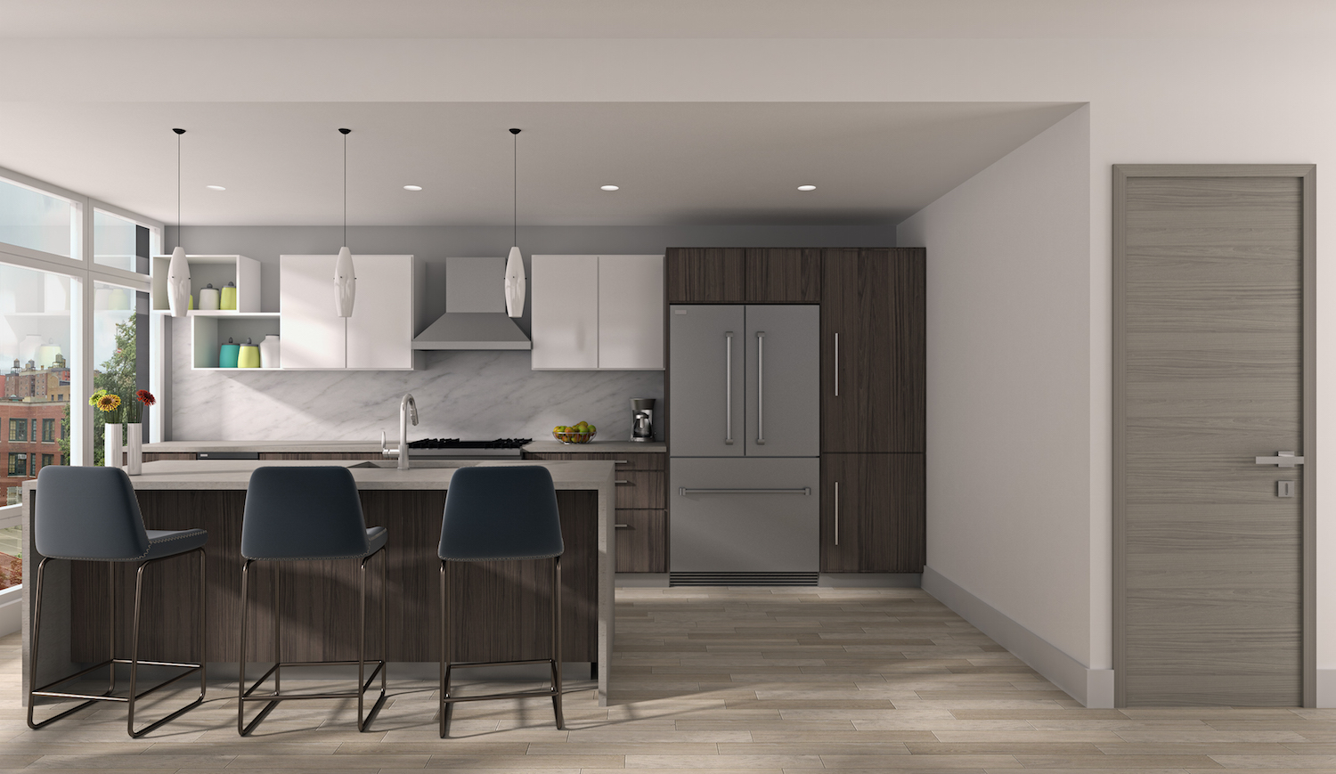 A kitchen at 952 Columbus Avenue. rendering via Douglas Elliman