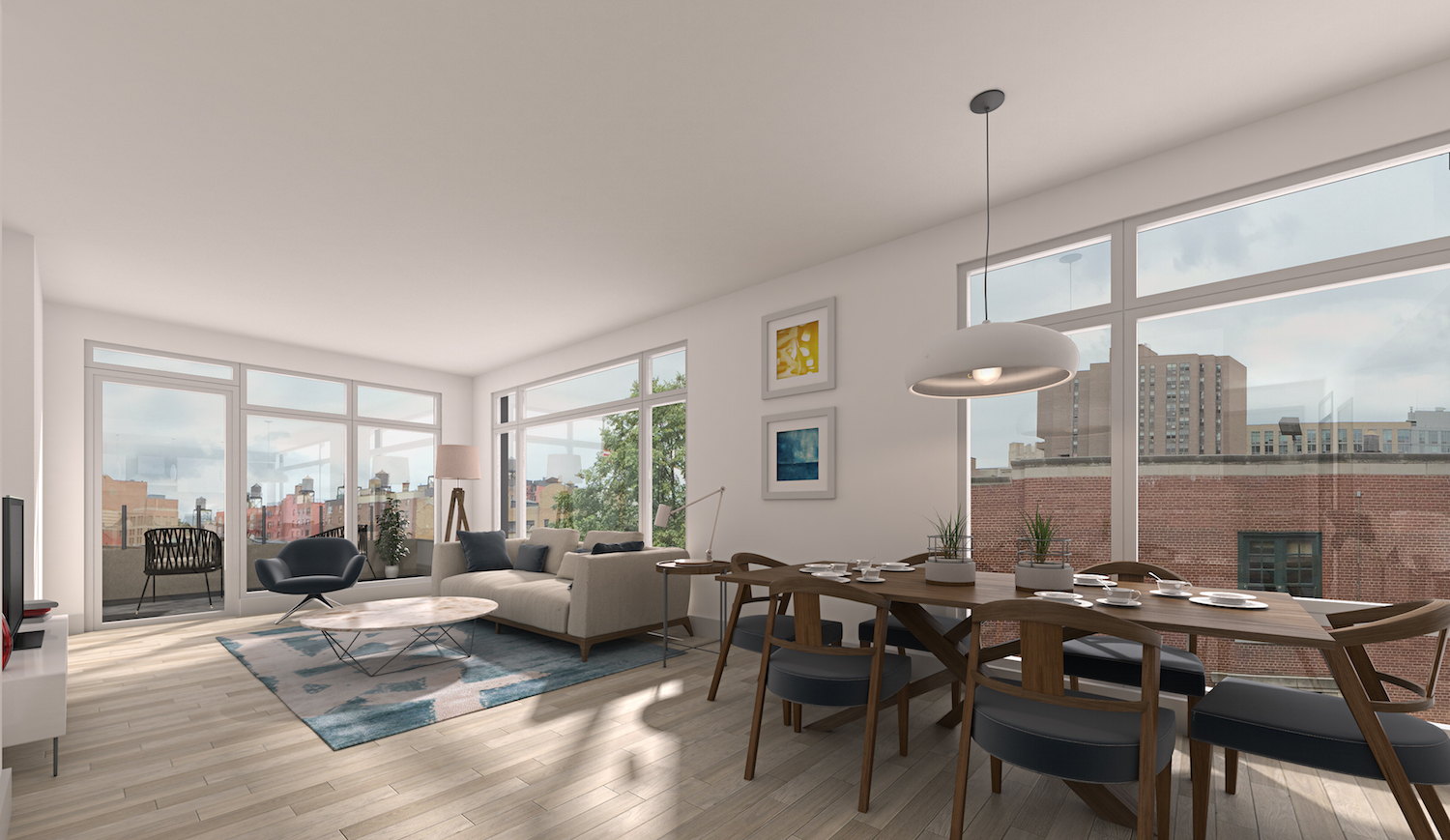 A living room at 952 Columbus Avenue. rendering via Douglas Elliman