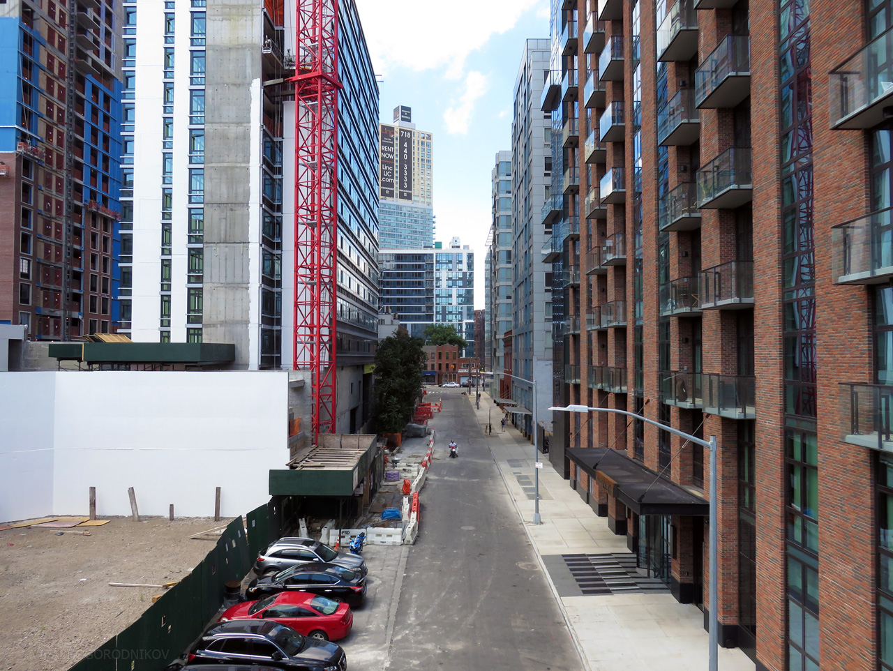 Purves Street as seen from the Thomson Avenue viaduct. Looking north.