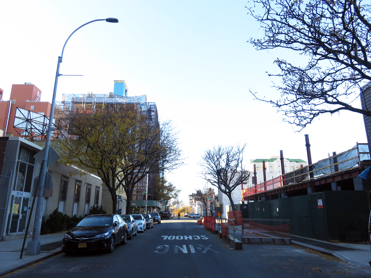 Looking northwest along 41st Avenue. The Queens Boro Tower is under construction on the left.