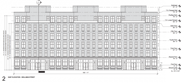 Diagram of the eastern side of 43 Franklin Avenue. image via DCP