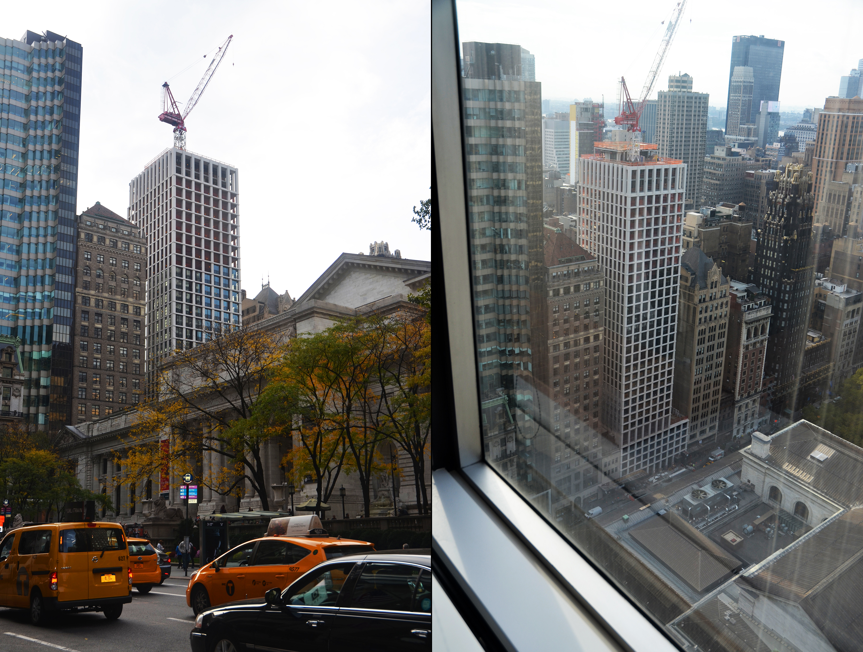 The Bryant as viewed from Fifth Avenue and then as viewed from its sales gallery at the top of 489 Fifth Avenue