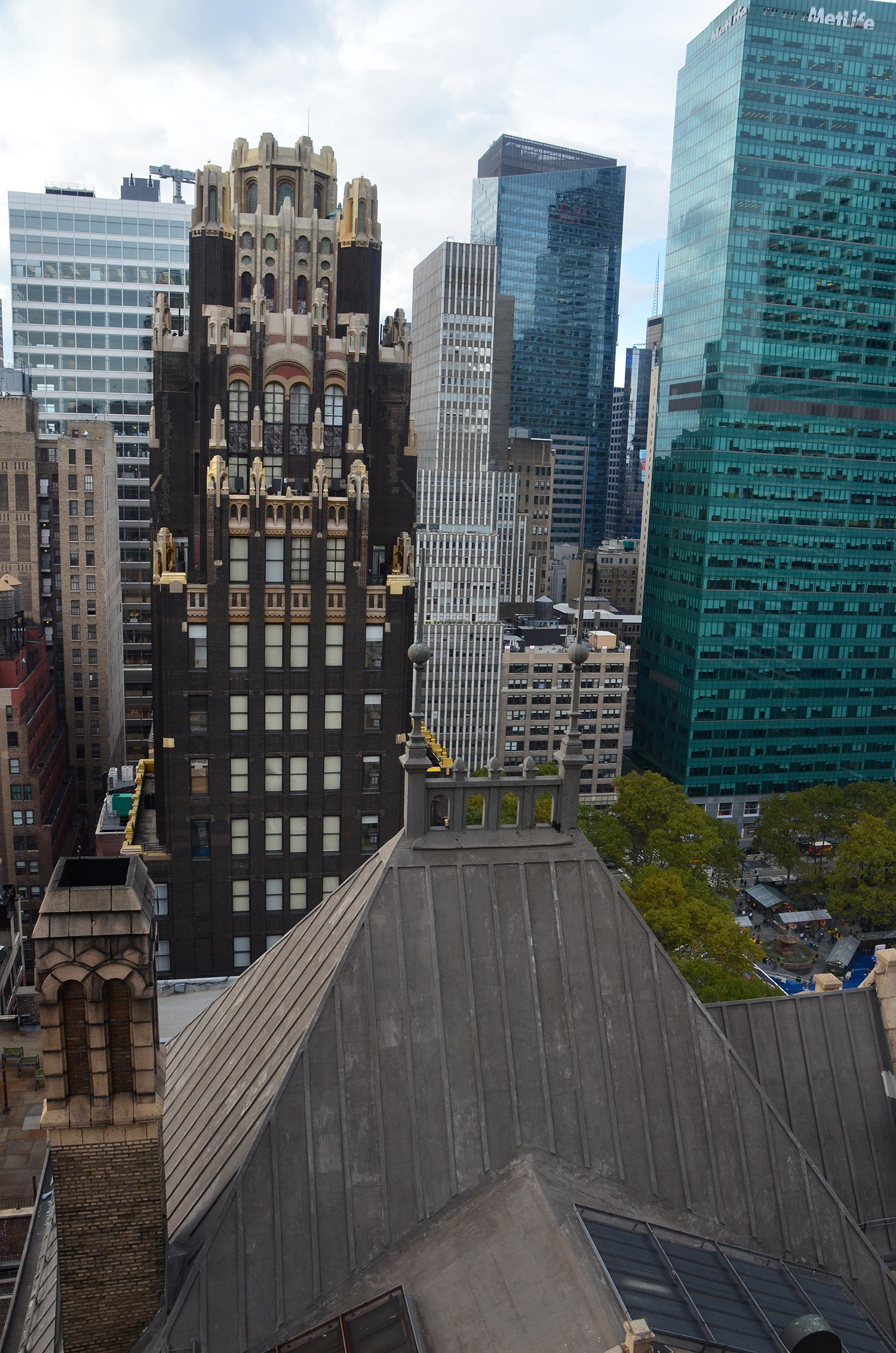 The Bryant Park Hotel and 24 West 40th Street as seen from The Bryant