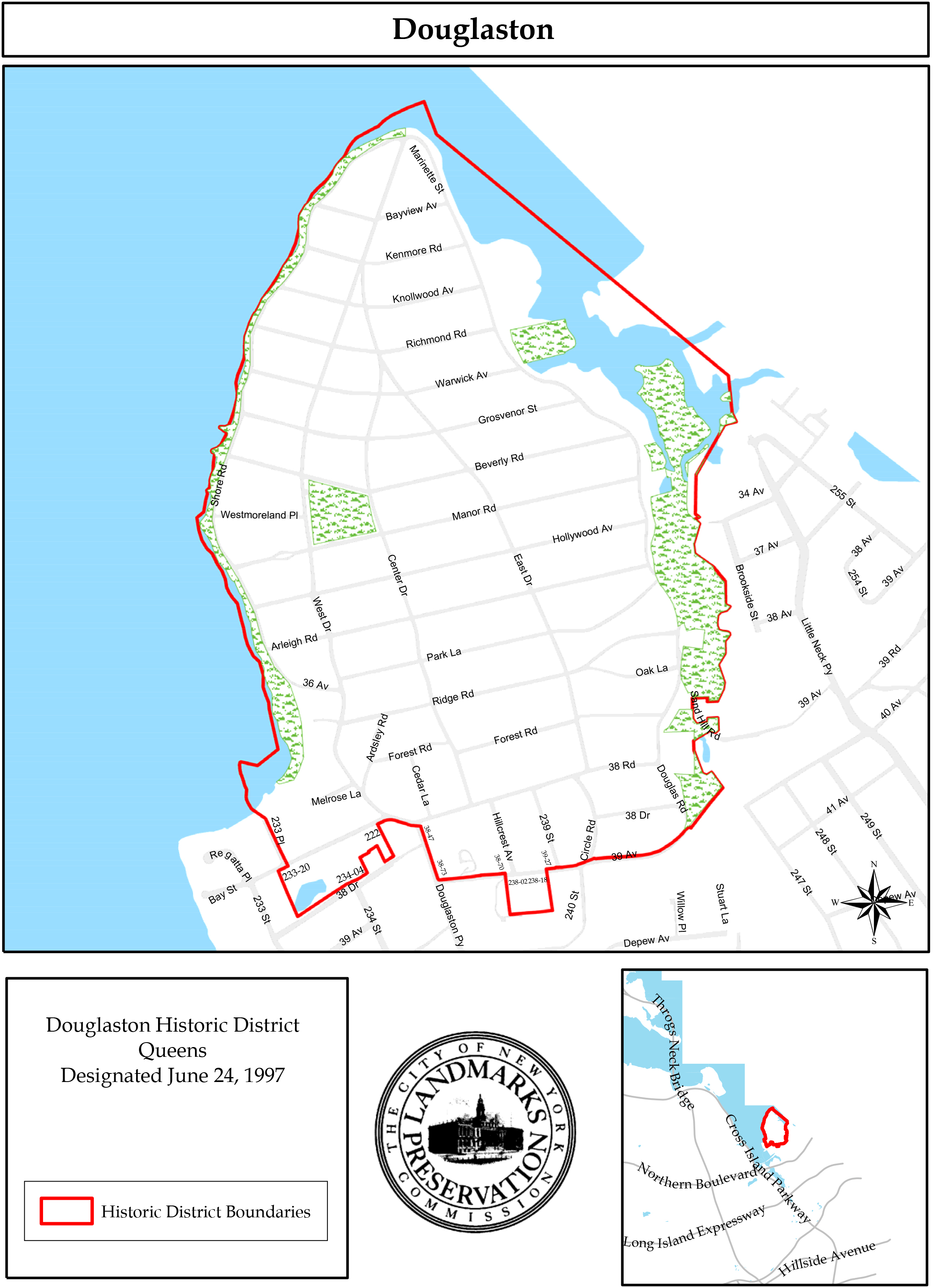 Map of the Douglaston Historic District