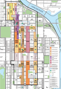 A map of the proposed East Harlem rezoning. via DCP