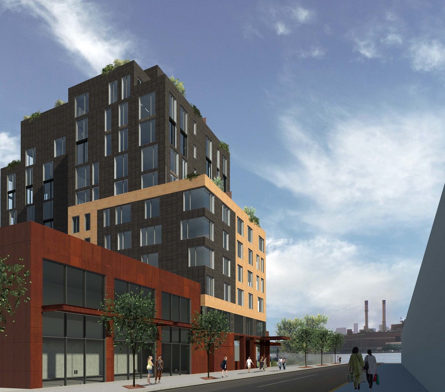 Proposal for 13 Greenpoint Avenue. rendering by Kutnicki Bernstein Architects