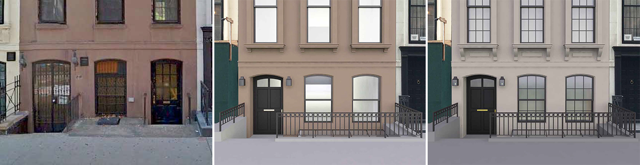 The areaway of 210 East 62nd Street - existing, previous proposal, and revised proposal