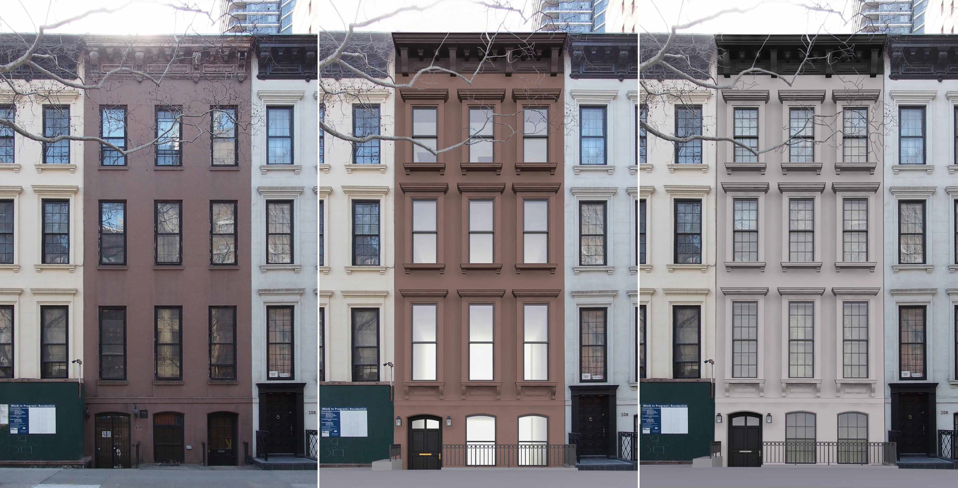 The front of 210 East 62nd Street - existing, previous proposal, and revised proposal