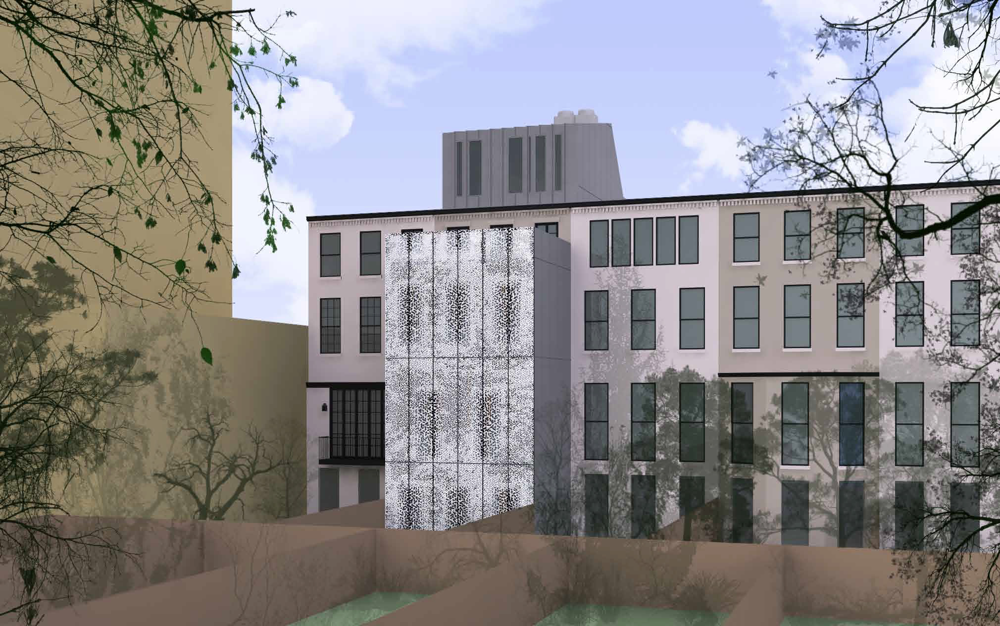 Proposed rear of 210 East 62nd Street, with shutters closed