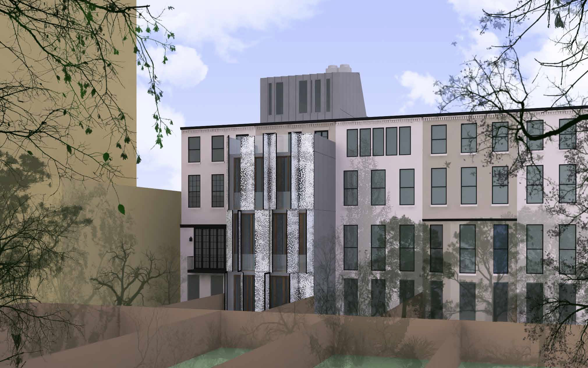 Angled view of the proposal for the rear of 210 East 62nd Street, with shutters open