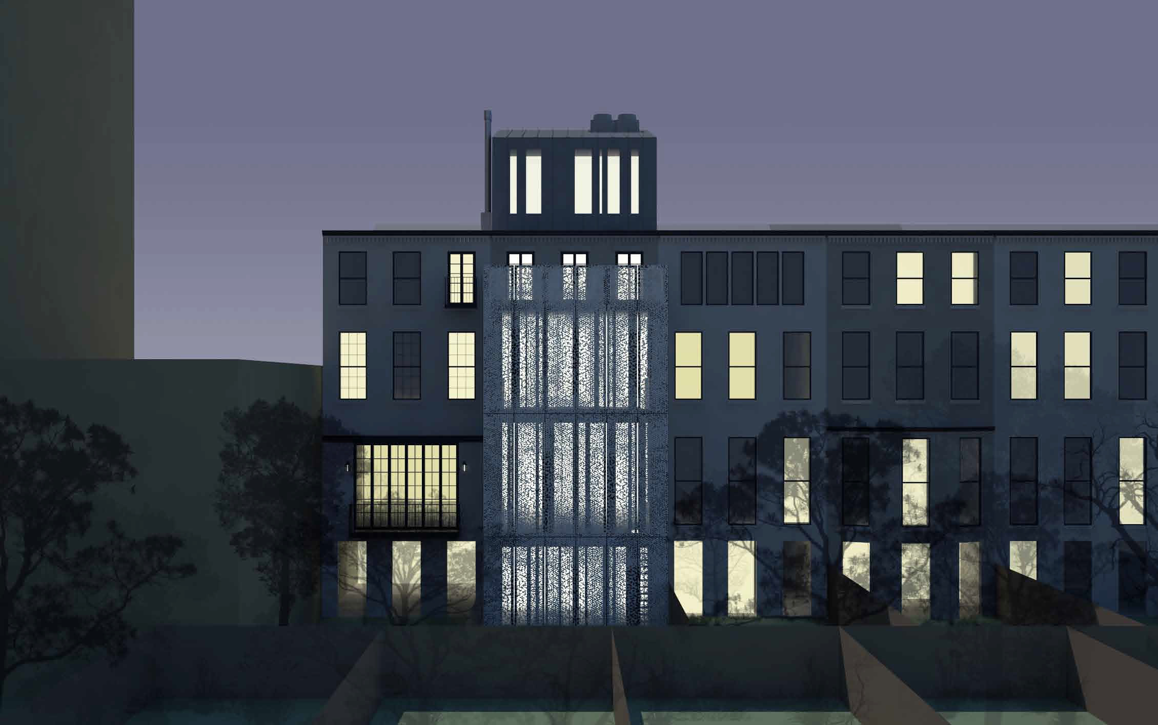 Proposal for the rear of 210 East 62nd Street, night view