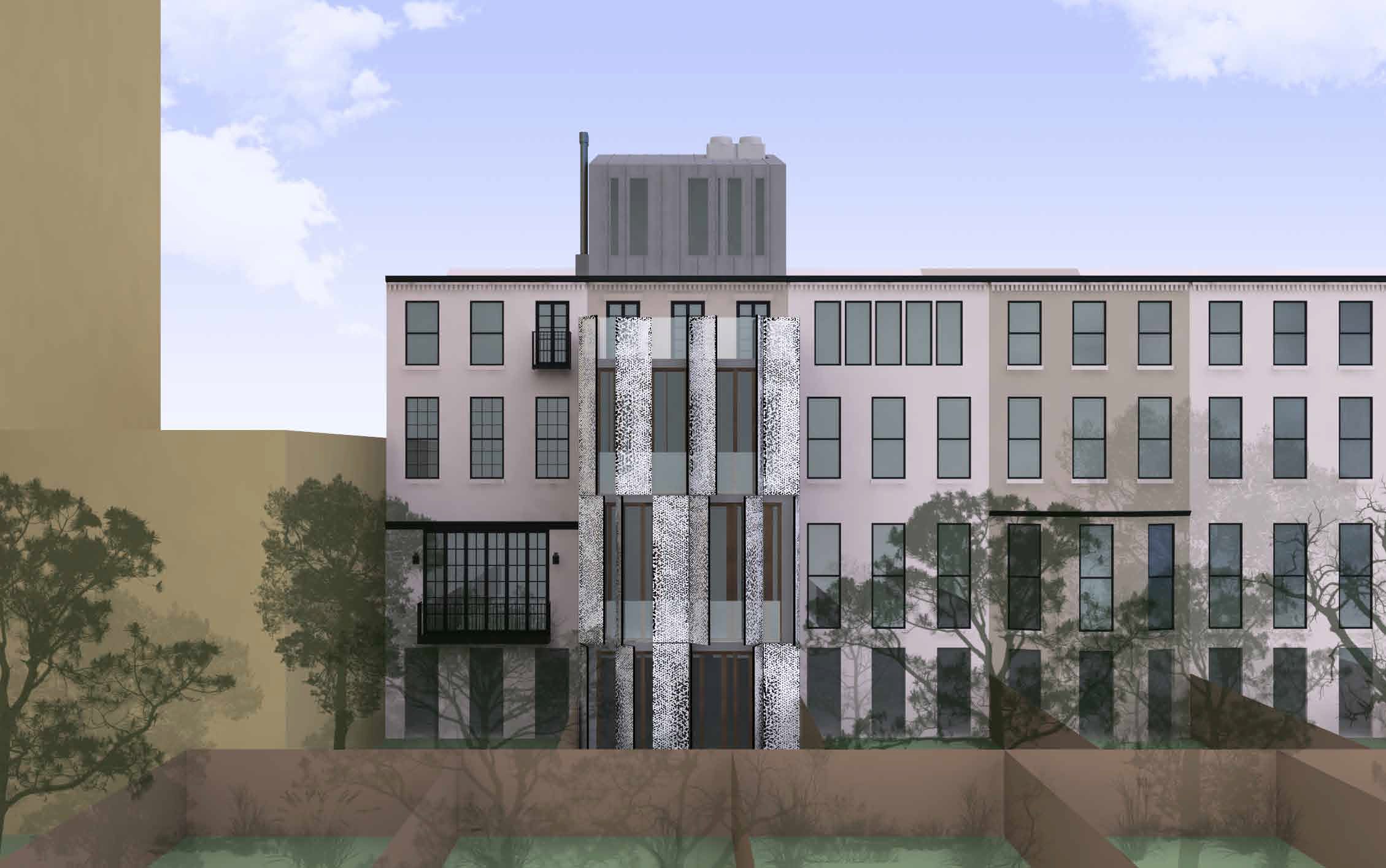 Straight view of the proposal for the rear of 210 East 62nd Street, with shutters open