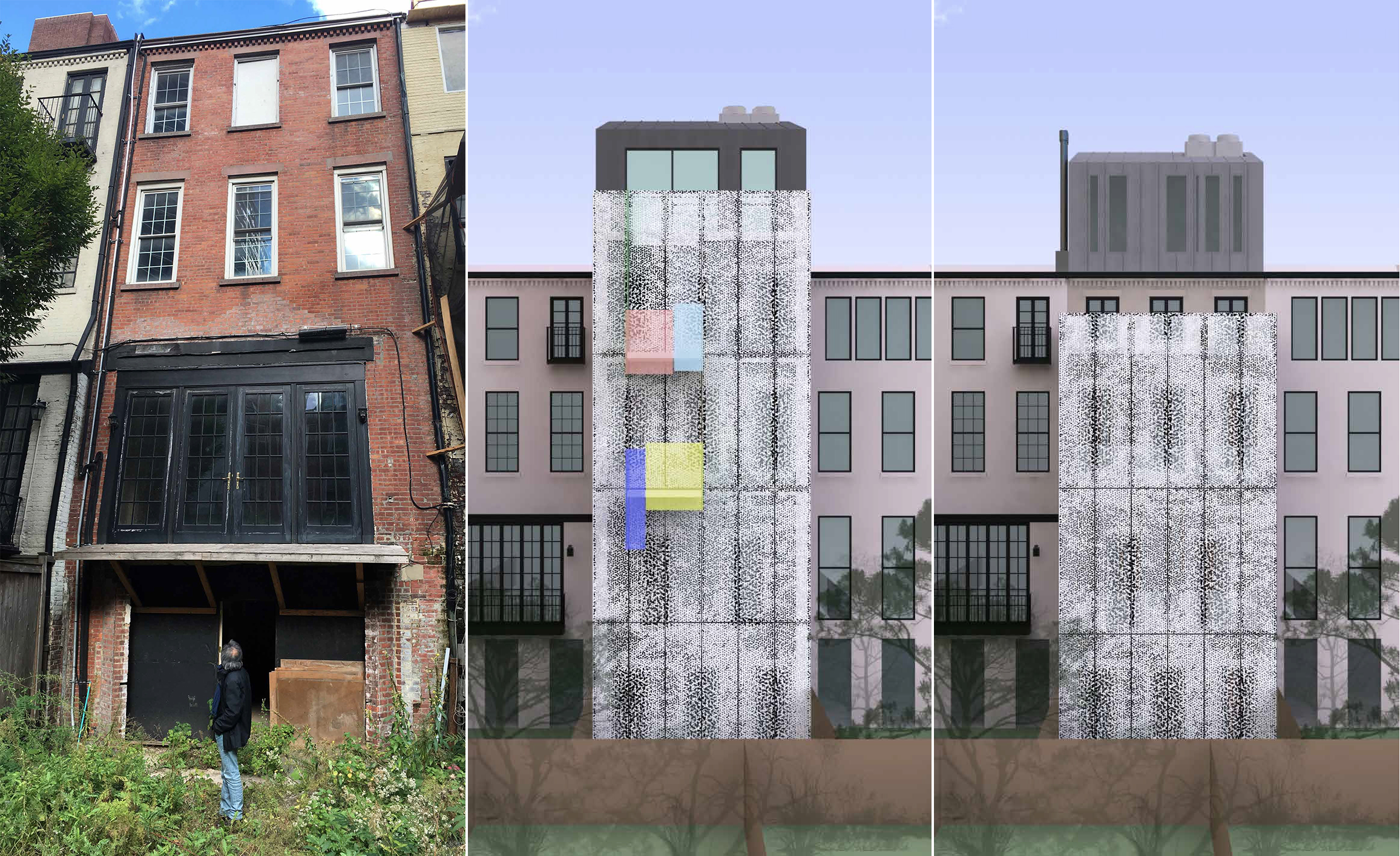 The rear of 210 East 62nd Street - existing, previous proposal, and revised proposal