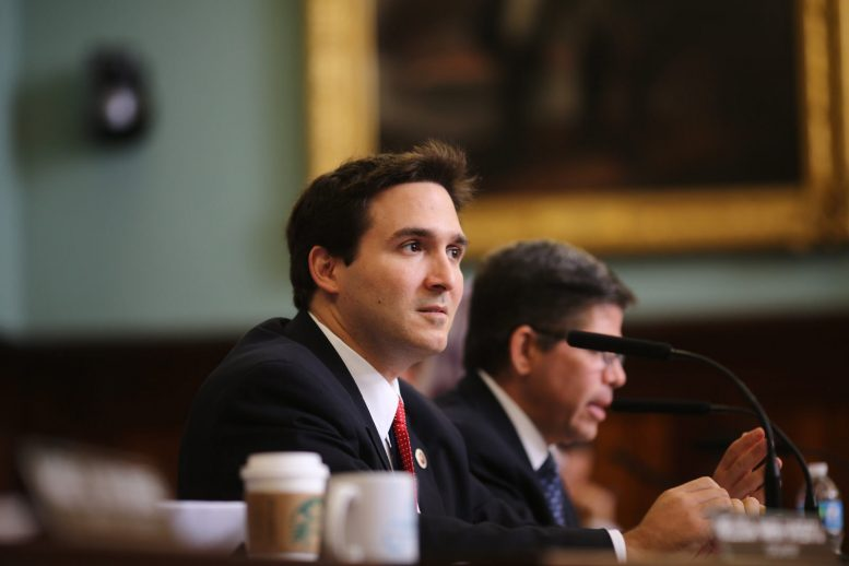 Manhattan Councilman Ben Kallos testifies at a hearing in September. photo by William Alatriste for the City Council