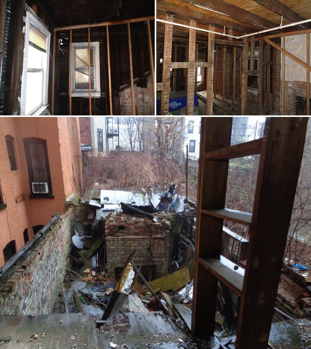 Existing conditions on the third floor (top) and at the rear extension (bottom) of 476 Washington Avenue