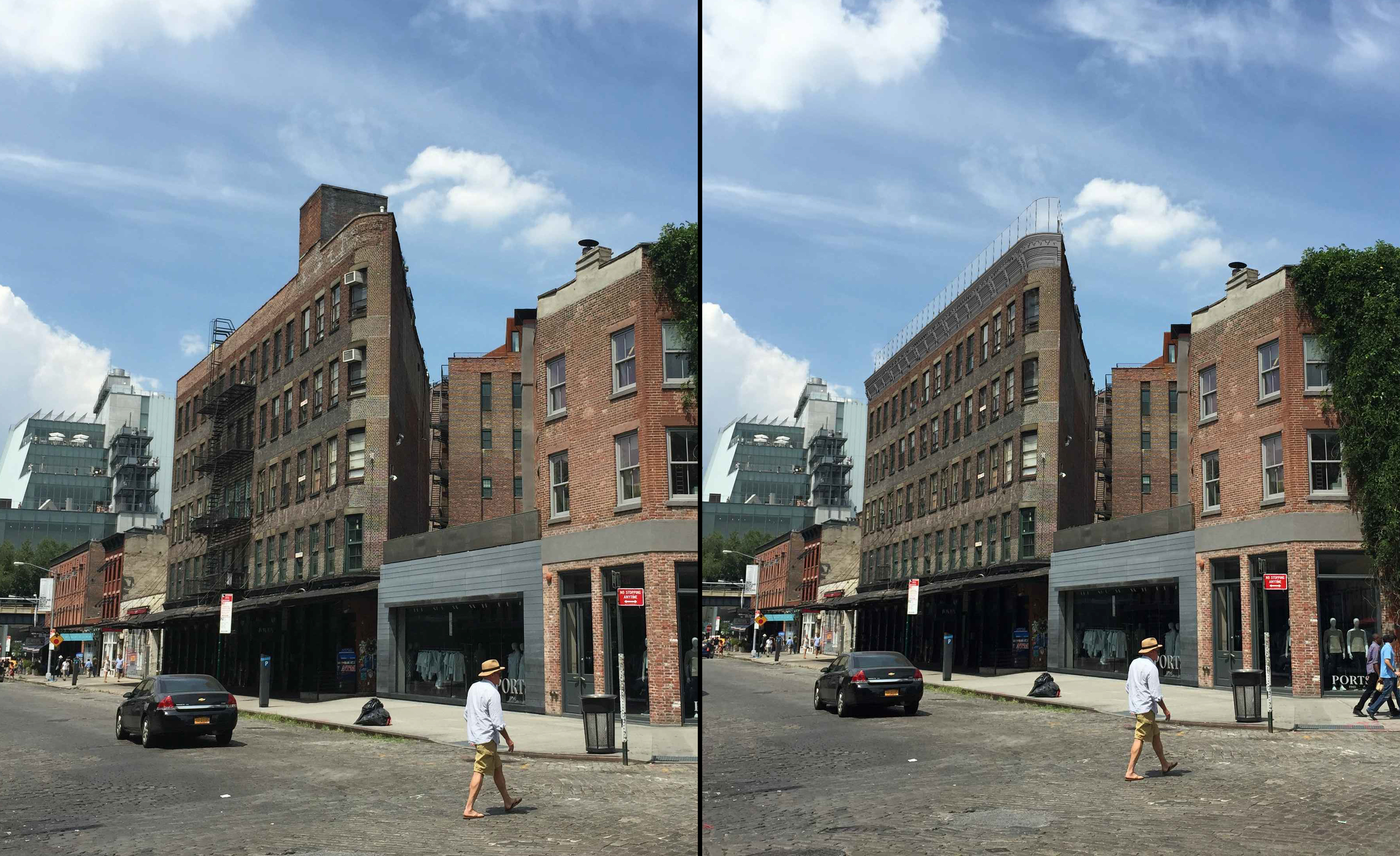 55 Gansevoort Street, existing conditions (left) and with fire escape removed and cornice and windscreen added (right)