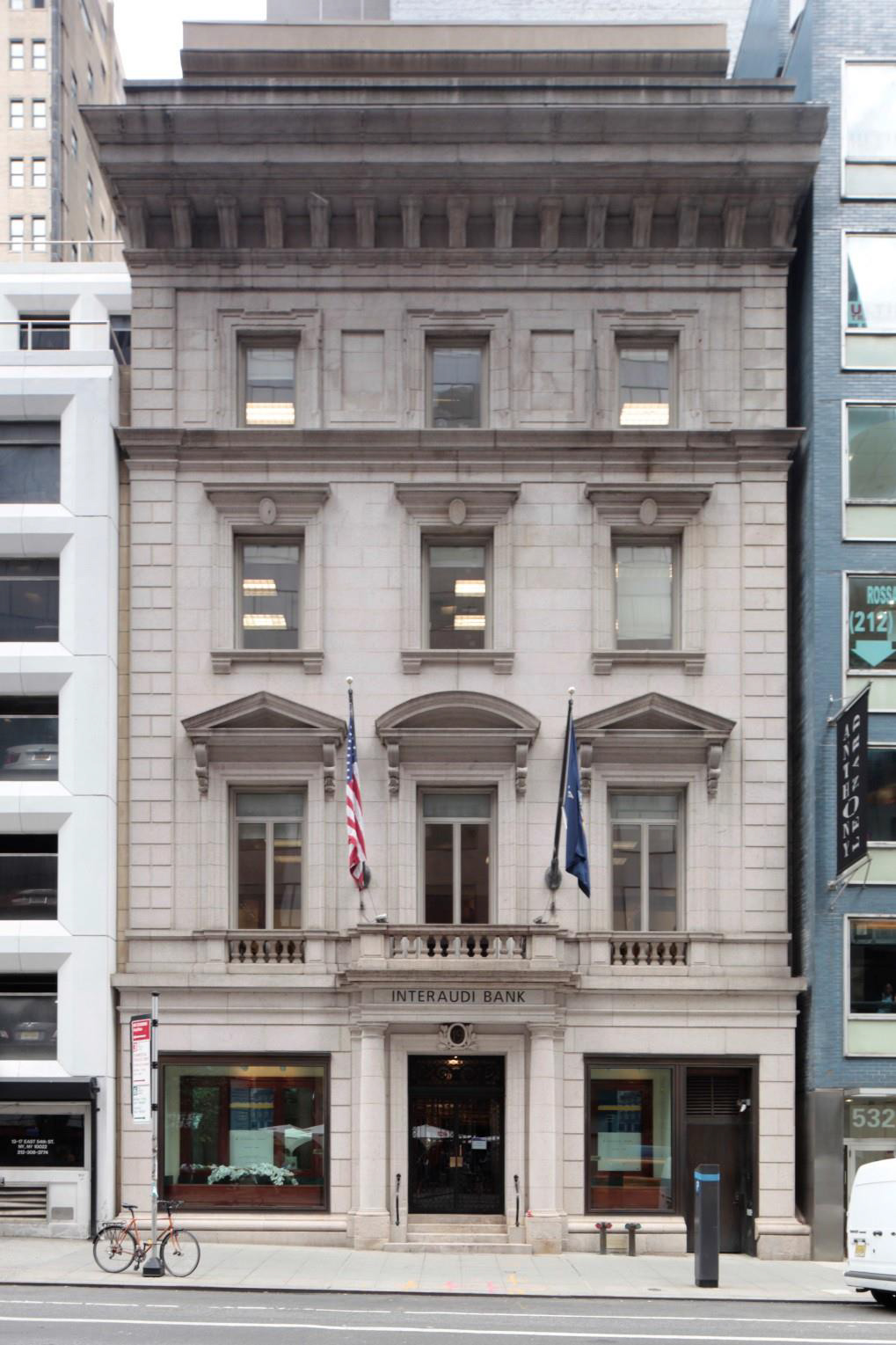 The former Minnie E. Young Residence at 19 East 54th Street as seen in 2016. LPC photo
