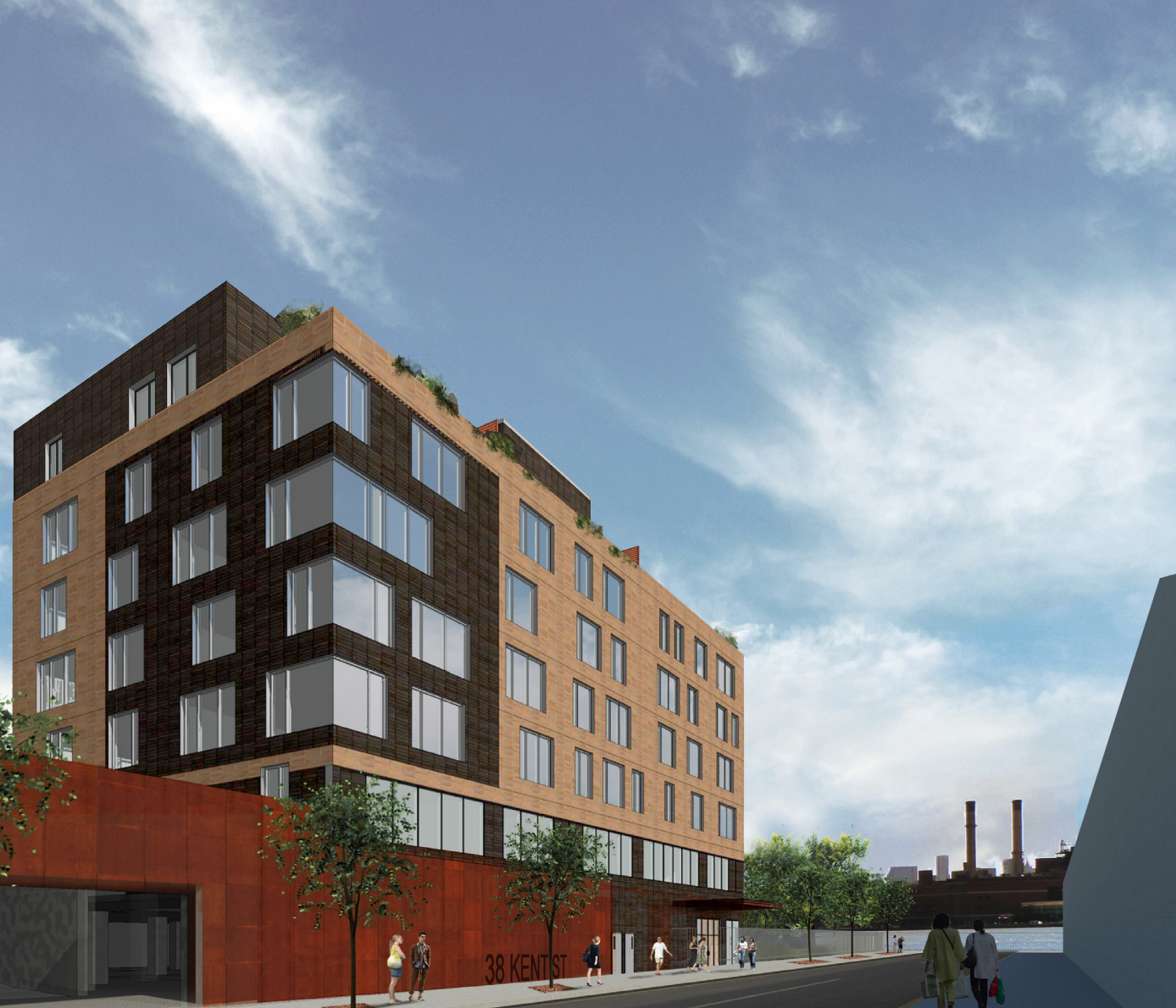 Rendering of as-of-right plan for 13 Greenpoint Avenue from Kent Street