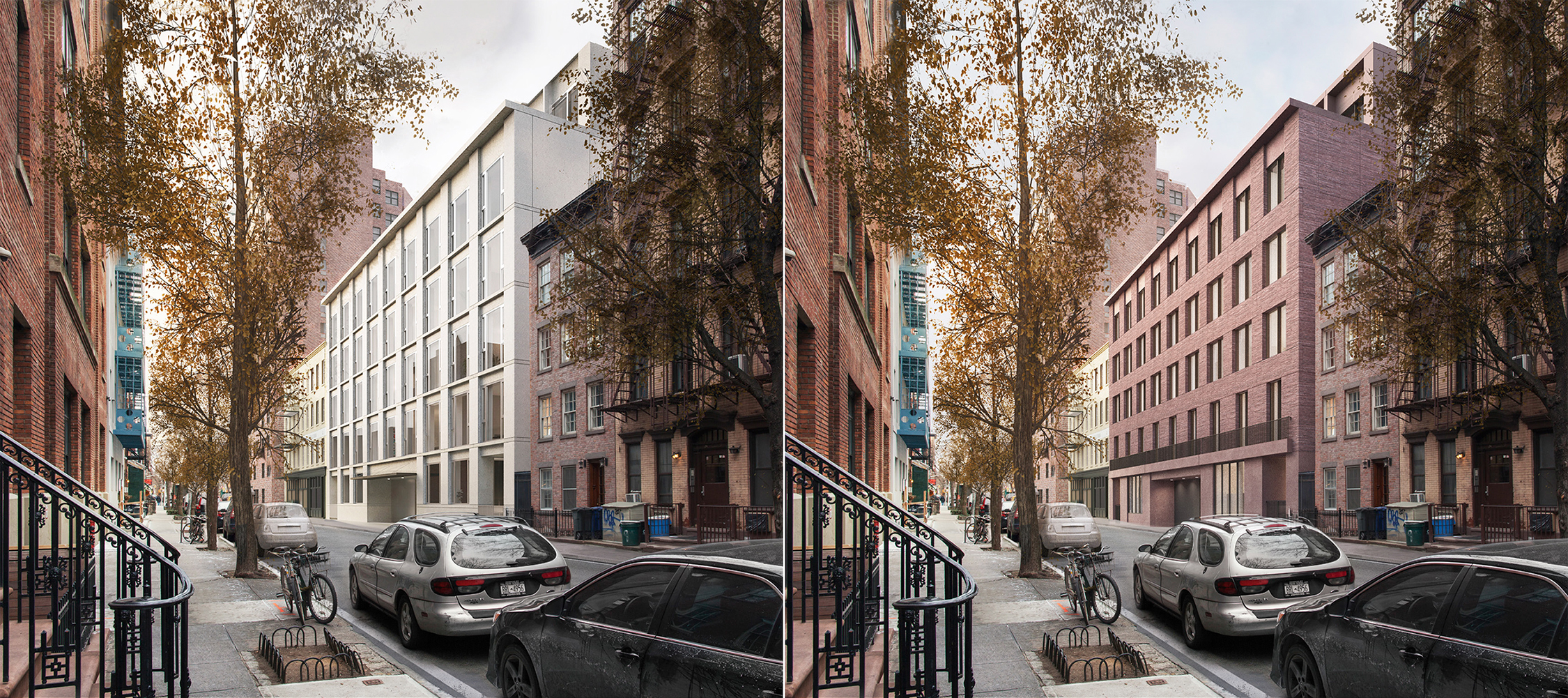 Previous and revised proposals for 11-19 Jane Street, by Sir David Chipperfield