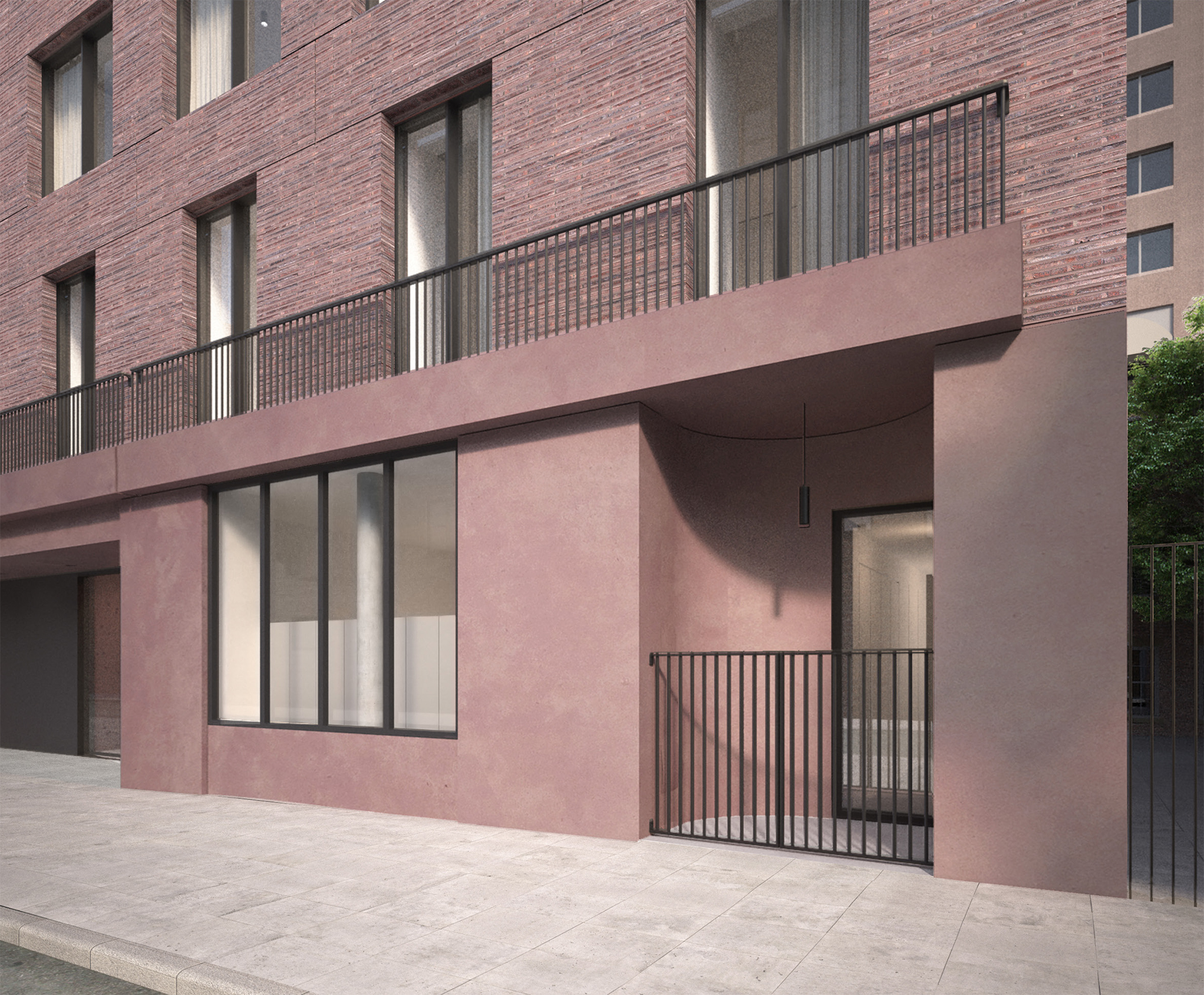 The latest proposal for 11-19 Jane Street, by Sir David Chipperfield. This view shows off one of the maisonette entrances.