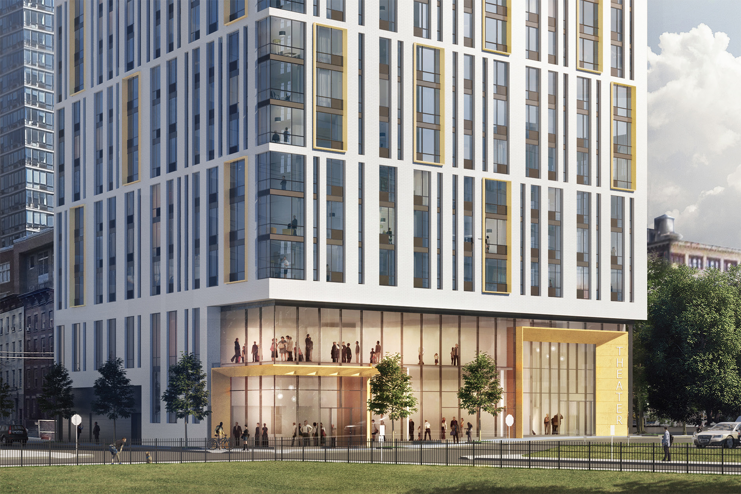 Close-up rendering of 321 Warren Street in Jersey City. Credit: Fogarty Finger Architecture
