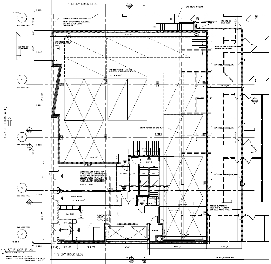 Ground floor plan of phase 1, showing temporary parking that will be replaced by commercial space during phase 2. Drawing by Morali-Architect, dated February 2015. Publicly available via the Remedial Action Work Plan.