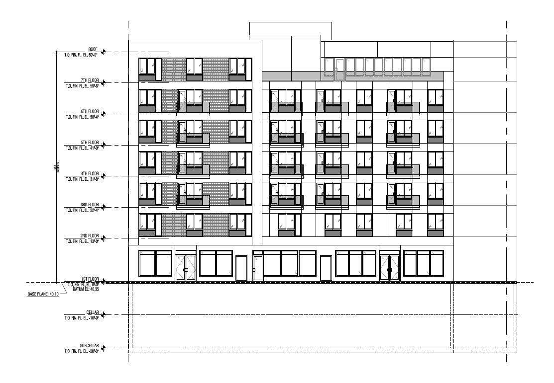 33rd Street elevation. Drawing by Tan Architect PC, publicly available via the Remedial Action Work Plan.