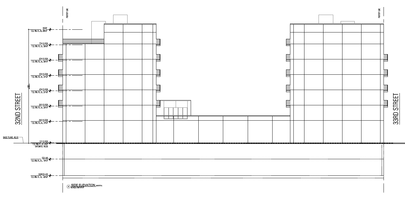 Side elevation. Drawing by Tan Architect PC, publicly available via the Remedial Action Work Plan.