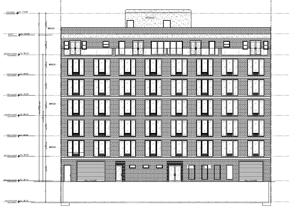 Front elevation. Drawing by JLS Designs, dated 4/2015, publicly available via the Remedial Action Work Plan
