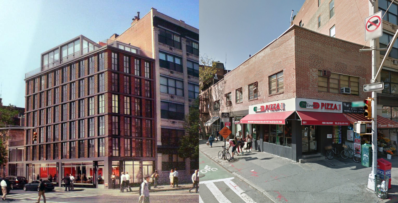 501 Hudson Street, previous proposal via GVSHP and as seen in September of 2016 via Google Maps.