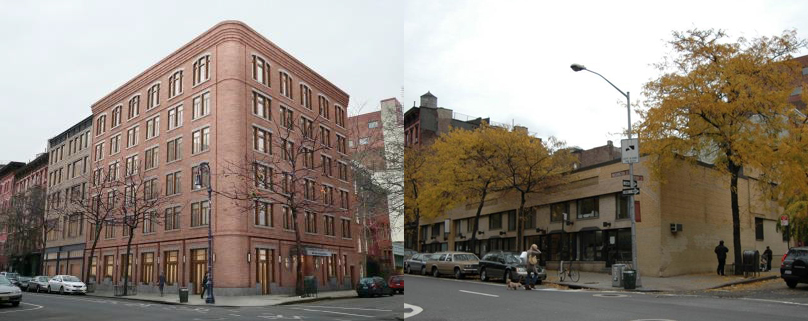 Previous proposal for 703-711 Washington Street, via GVSHP and existing conditions as photographed by Kate Leonova for PropertyShark in November of 2005