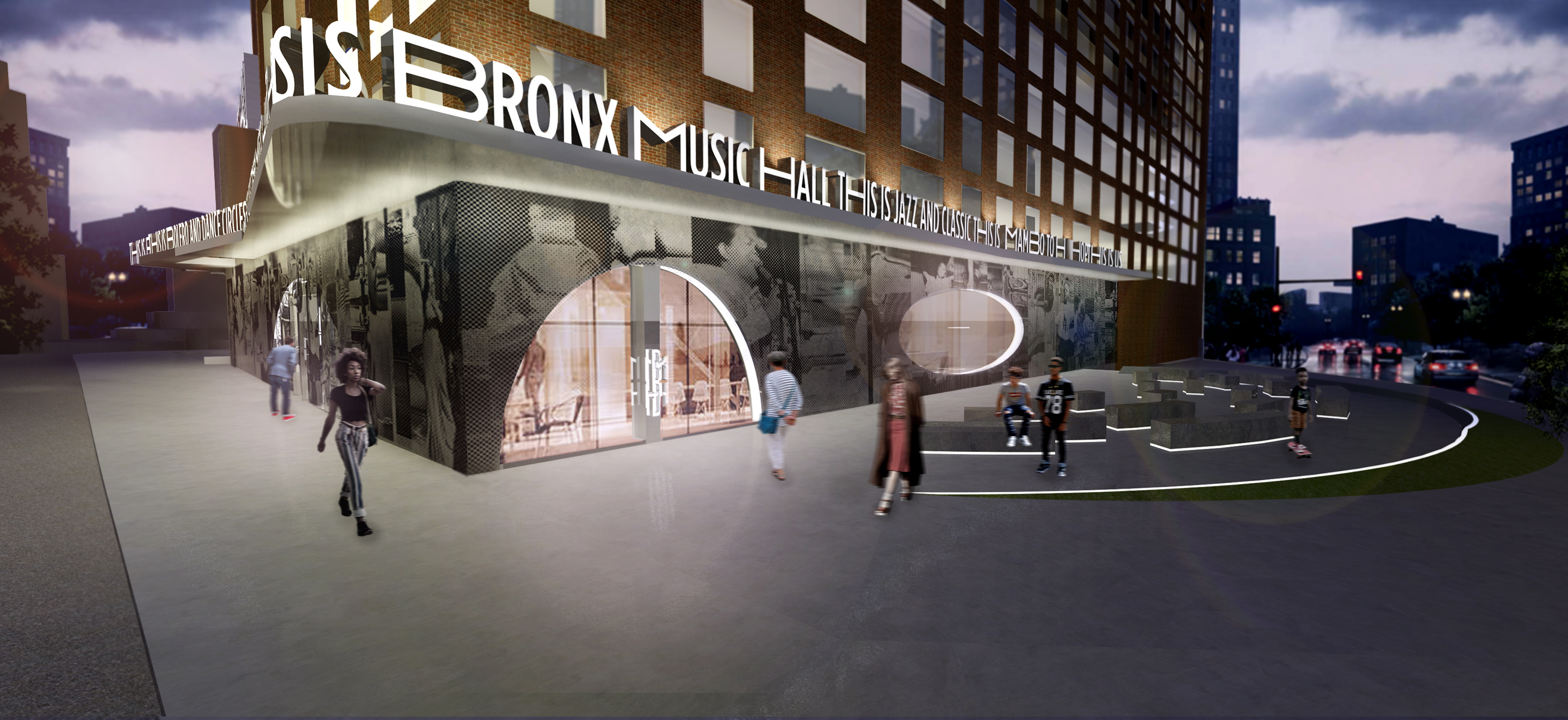 Rendering of Bronx Music Hall exterior. Credit: WXY and Local Projects