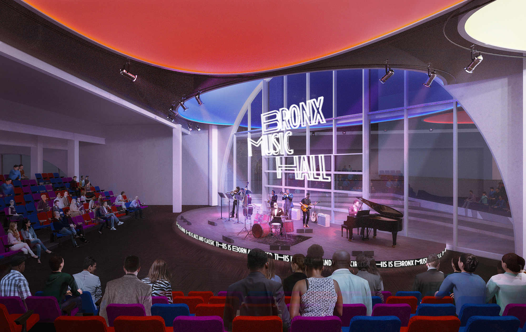 Rendering of the Bronx Music Hall interior. Credit: WXY and Local Projects