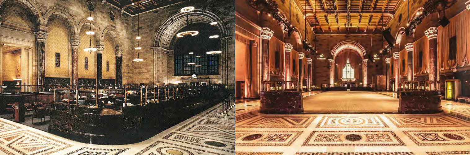 The Bowery Savings Bank in 1994 and after its conversion to Cipriani