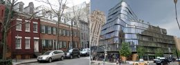 Buildings on Grove Street constructed prior to the designation of the Greenwich Village Historic District, photo by Wally Gobetz/Flickr, and 122 Greenwich Avenue, approved in 2007, photo via Google Maps