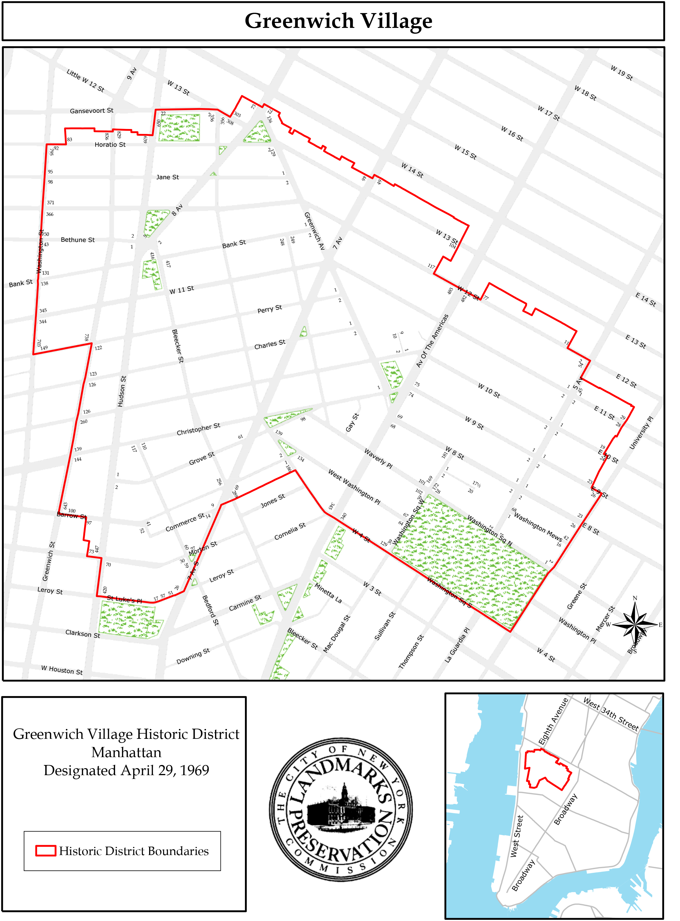 Official map of the Greenwich Village Historic District.