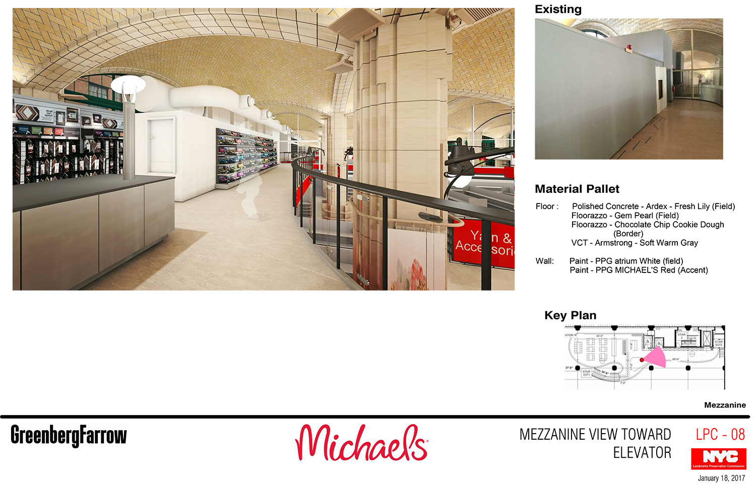 Renderings of the proposed Michaels frame shop at the mezzanine level