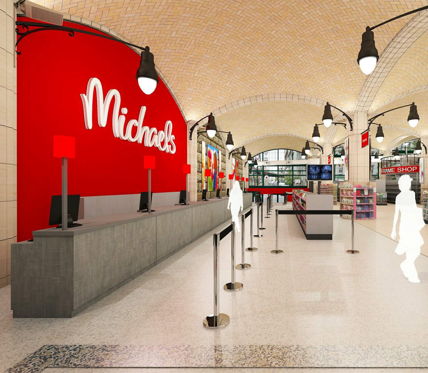 Rendering of the cash register area at the Michaels proposed for the space under the Queensboro Bridge