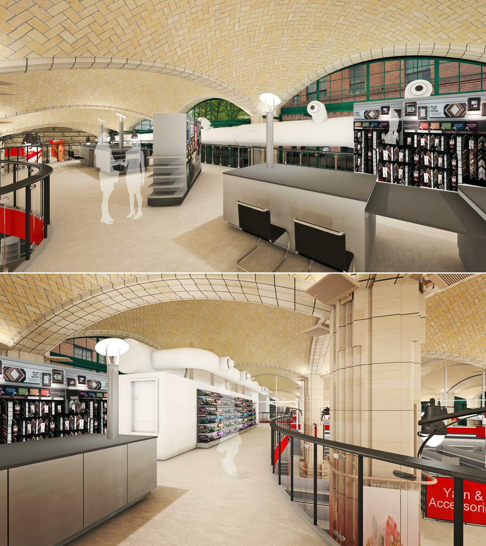 Renderings of the proposed Michaels frame shop at the mezzanine level of the space under the Queensboro Bridge