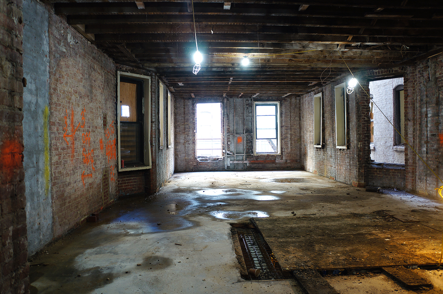 The interior of the under-construction brownstones. photo by Rebecca Baird-Remba