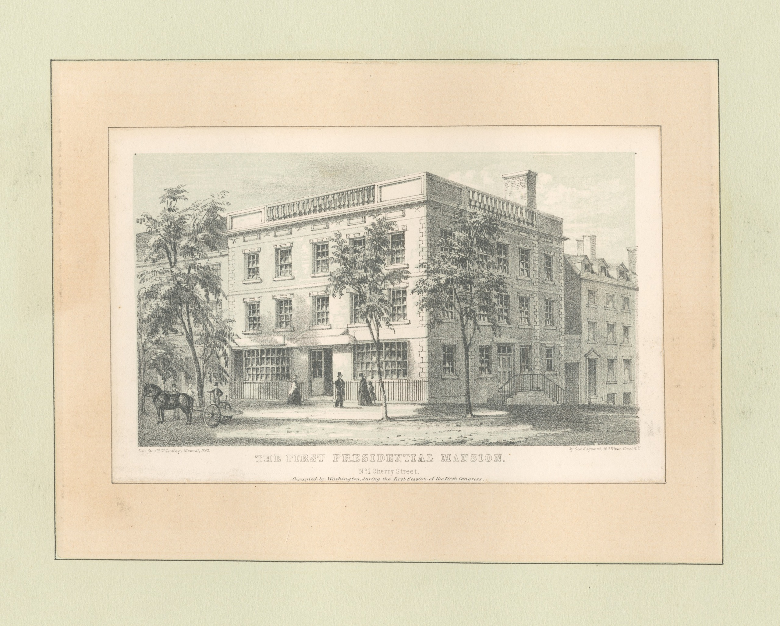 The first presidential mansion at 1 Cherry Street. Credit: NYPL