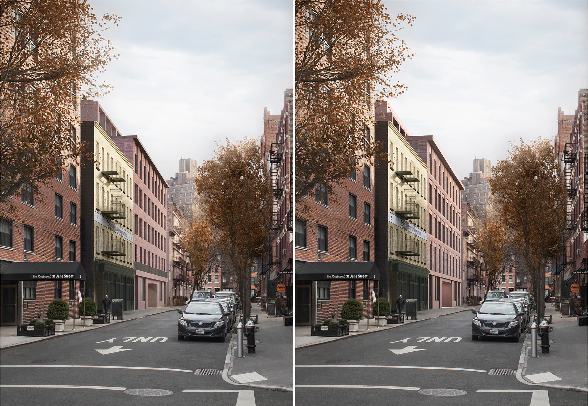January proposal (left) and February proposal (right) for 11-19 Jane Street.