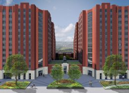 The courtyard of 1520 and 1530 Story Avenue. rendering by Curtis + Ginsberg Architects
