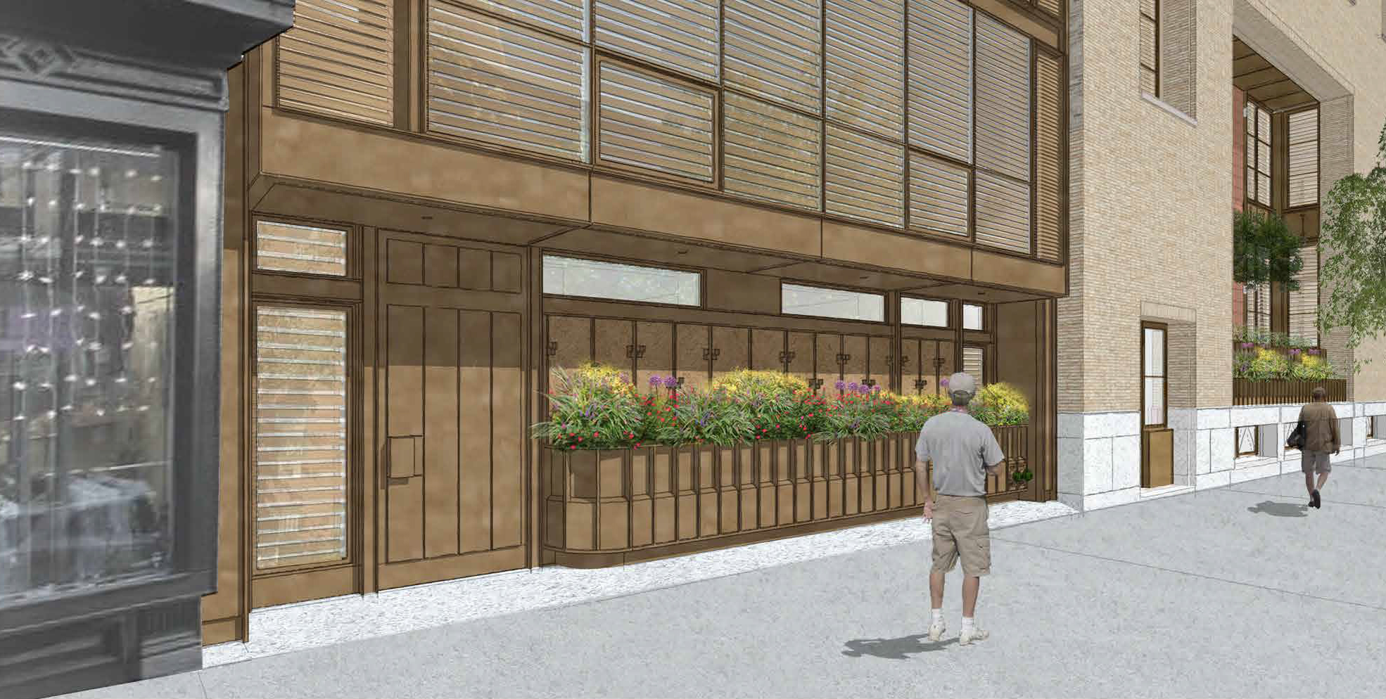 Proposed apartment building entry at 145 Perry Street, a.k.a. 703-711 Washington Street.
