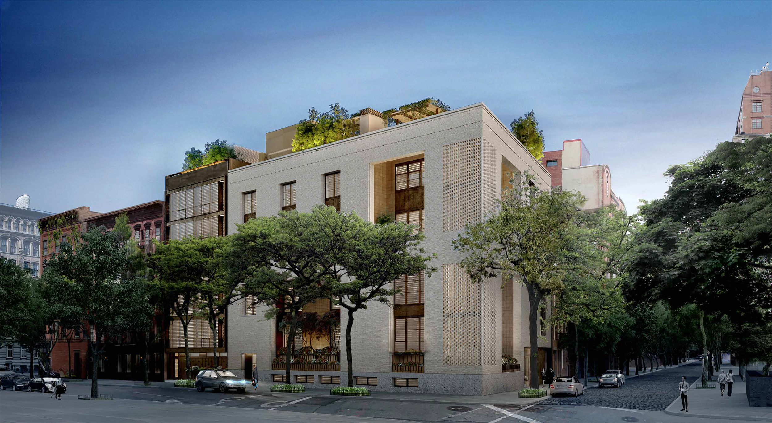Proposal for 145 Perry Street, a.k.a. 703-711 Washington Street. The apartment building is to the left and the mega-mansion is to the right.
