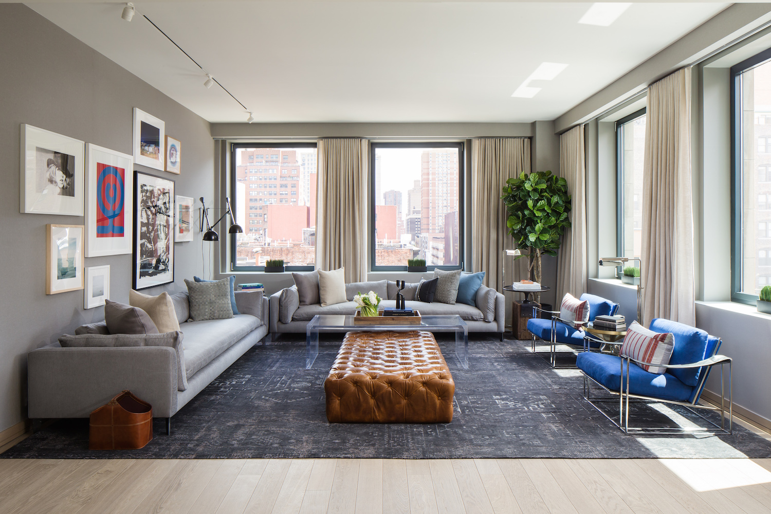 Living room in a seventh floor model unit at 88 Lexington Avenue. photo via HFZ Capital