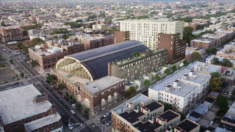 An overhead rendering of the plans to redevelop the Bedford Union Armory, courtesy BFC Partners
