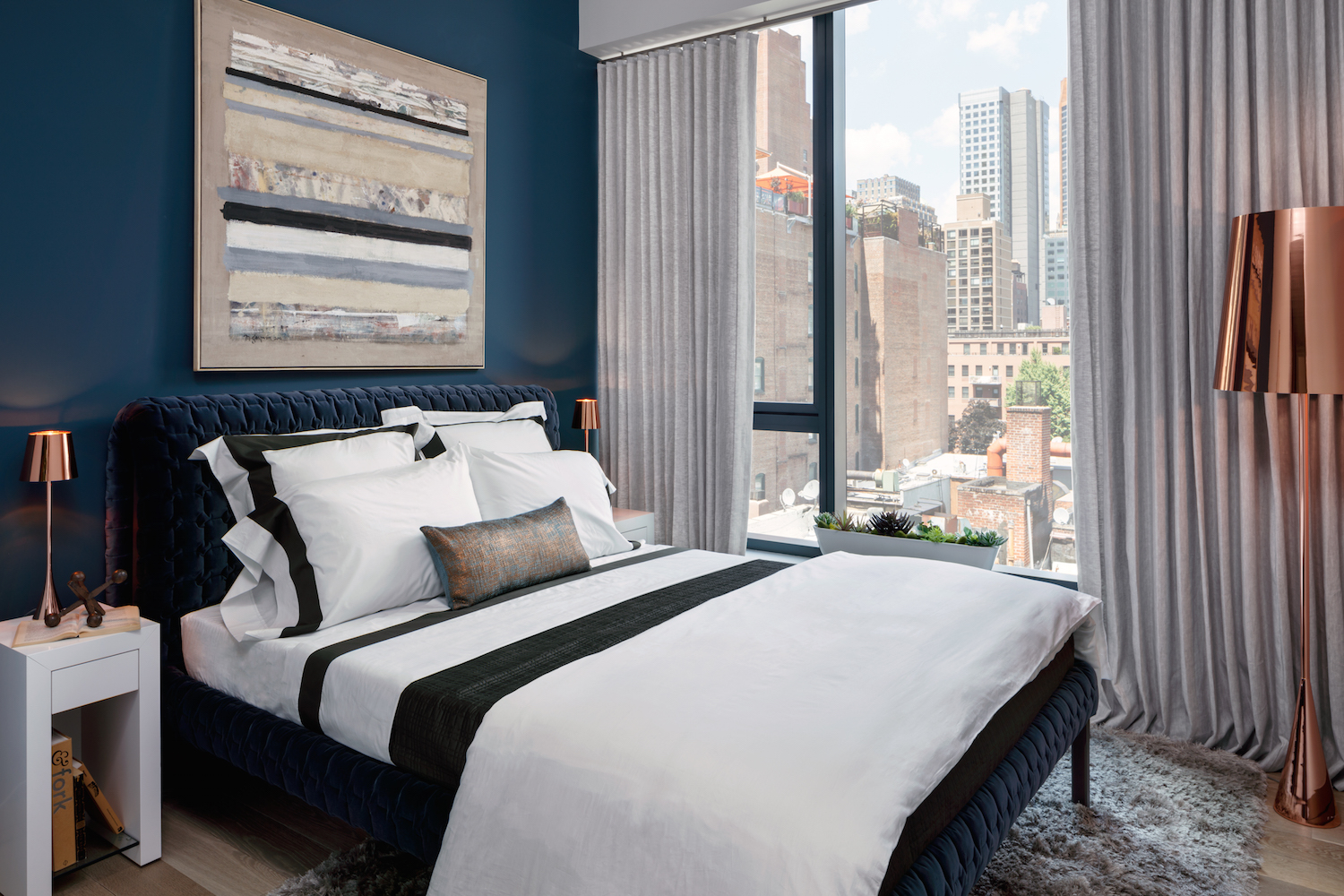 Second bedroom in the model unit at 90 Lexington Avenue. photo via HFZ Capital