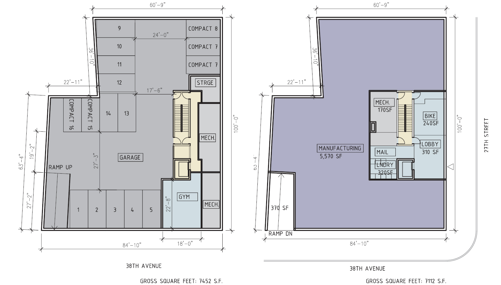 25-11 38th Avenue floor plan – cellar (left) and ground floor (right). Drawing by RSVP Studio, dated November 2013, publicly available via the Remedial Investigation Report.
