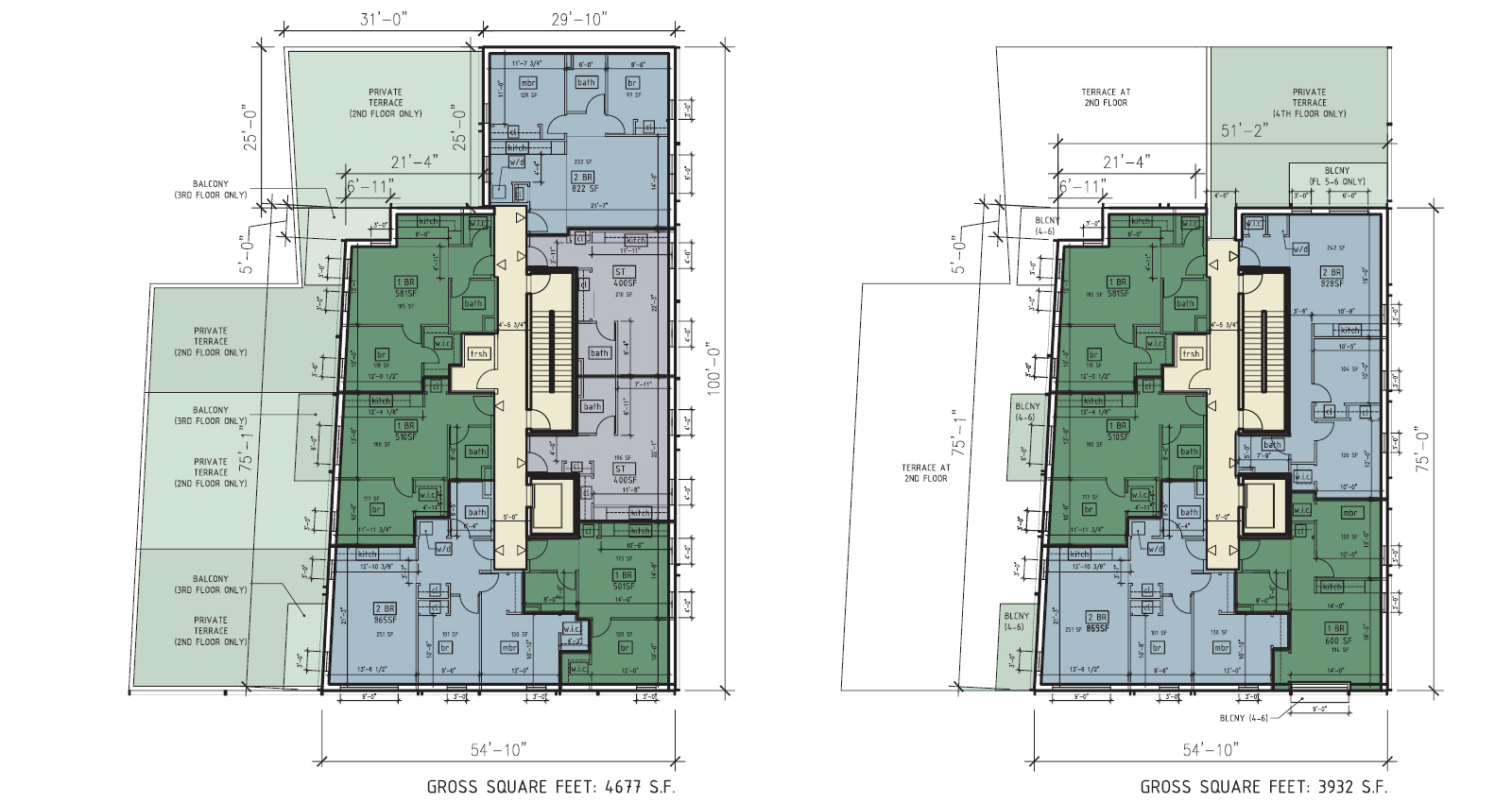 25-11 38th Avenue floor plan – typical floor (left) and top floor (right). Drawing by RSVP Studio, dated November 2013, publicly available via the Remedial Investigation Report.